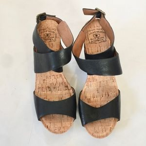 LUCKY BRAND Moran Ankle Wrap Leather Wedges